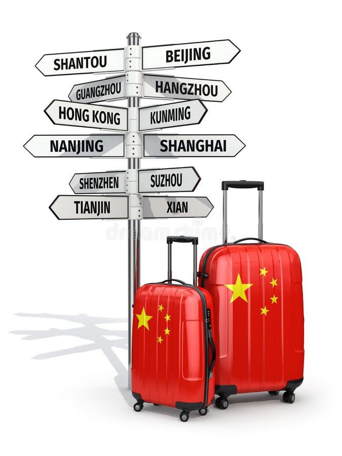 concept de course Valises et poteau indicateur ce qui à visiter en Chine illustration stock