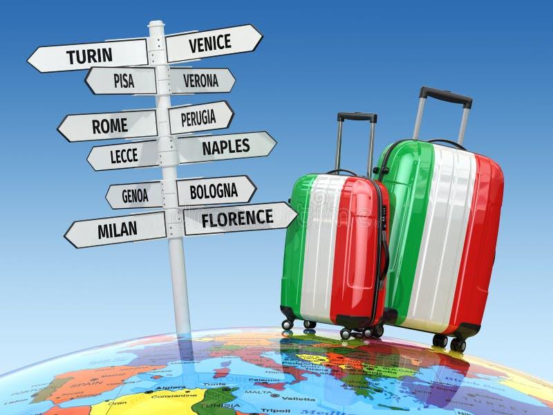 concept de course Valises et poteau indicateur ce qui à visiter en Italie illustration de vecteur