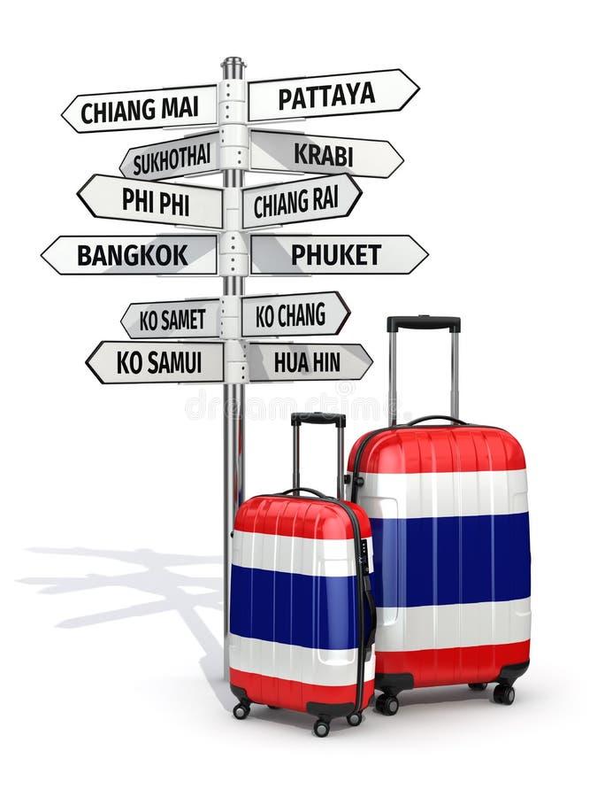concept de course Valises et poteau indicateur ce qui à visiter en Thaïlande illustration libre de droits
