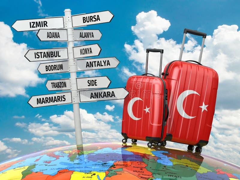 concept de course Valises et poteau indicateur ce qui à visiter en Turquie illustration de vecteur