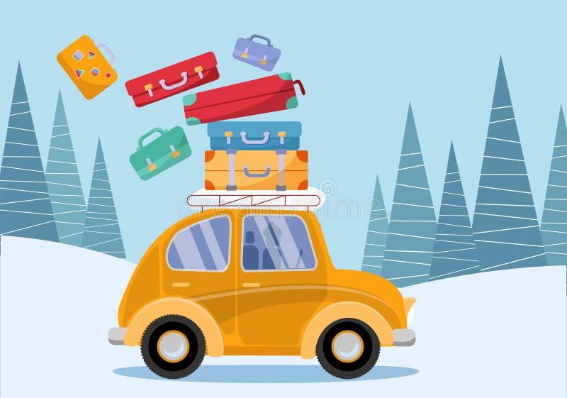 concept de course Voiture jaune de cru avec des valises de voyage sur le toit Tourisme d'hiver, voyage, voyage Illustration plate illustration de vecteur