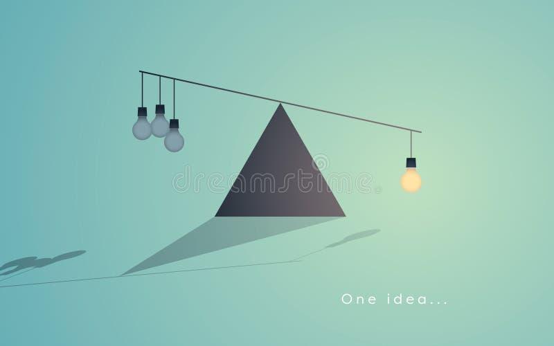 Concept de créativité avec une ampoule comme symbole de grande idée étant supérieur à beaucoup de petites idées illustration stock