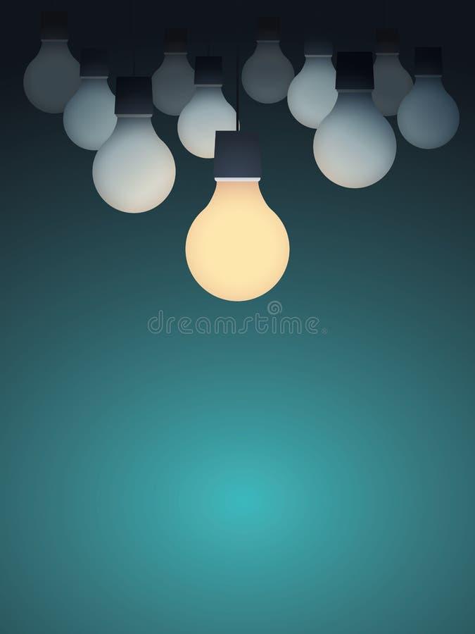 Concept de créativité d'affaires avec l'ampoule mise en marche Fond créatif de vecteur de signe illustration de vecteur