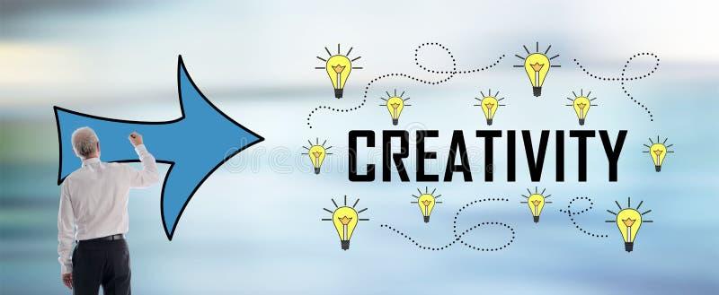 Concept de créativité dessiné par un homme illustration de vecteur