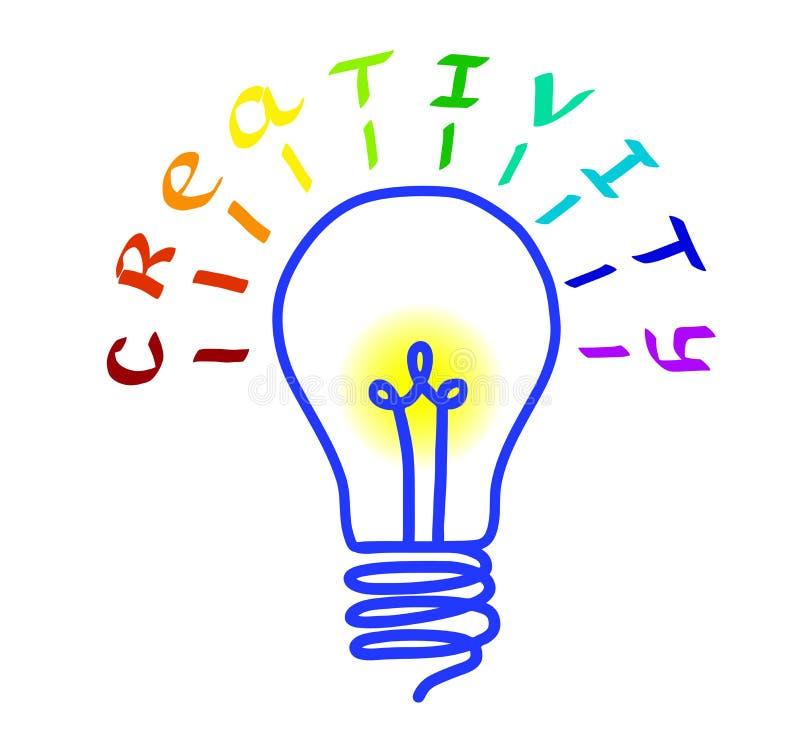 Concept de créativité Logo d'ampoule avec le lettrage Concept ou pensée créative et idées uniques Illustration de vecteur illustration de vecteur