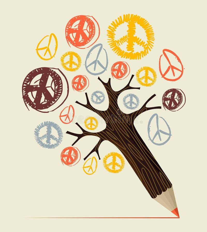 Concept de crayon d'arbre d'icône de paix illustration stock