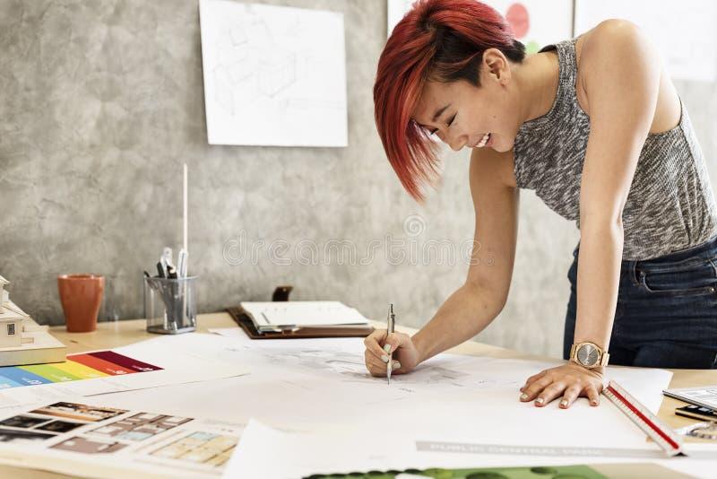 Concept de Creative Occupation Blueprint d'architecte de studio de conception photos stock