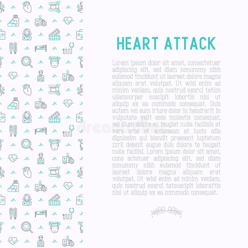 Concept de crise cardiaque avec la ligne mince icônes illustration stock