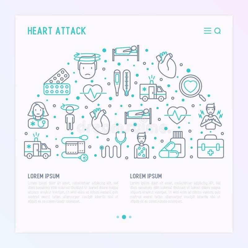 Concept de crise cardiaque avec la ligne mince icônes illustration de vecteur