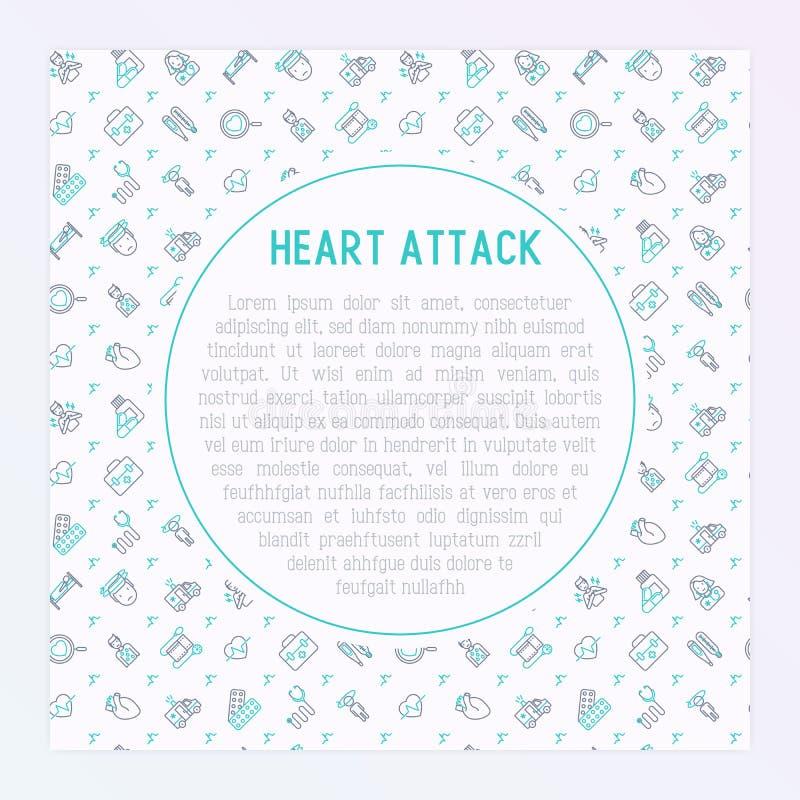 Concept de crise cardiaque avec la ligne mince icônes illustration libre de droits