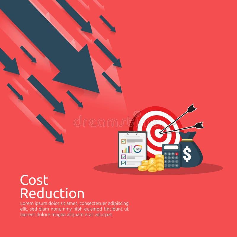 concept de crise de finances d'affaires pièces de monnaie de pile de pile et icône de sac d'argent économie de diminution de flèc illustration stock