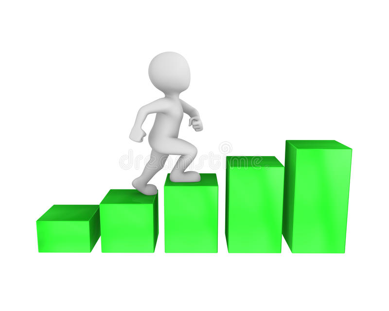 concept de croissance du caractère 3d et de la carrière illustration stock