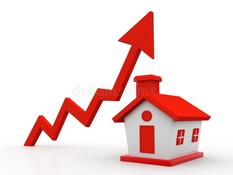 Concept de croissance de Real Estate d'isolement à l'arrière-plan blanc 3d rendent illustration libre de droits