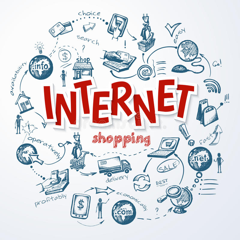 Concept de croquis d'achats d'Internet illustration stock