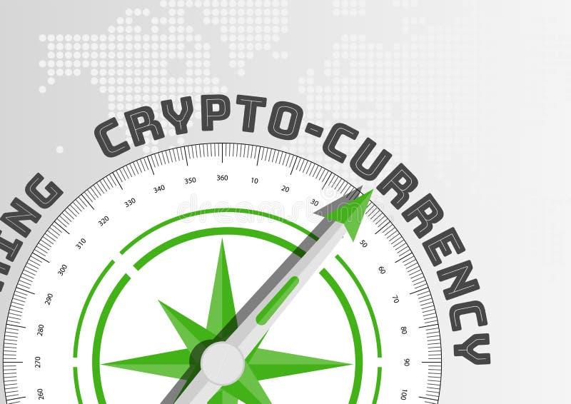 concept de Crypto-devise avec la boussole se dirigeant vers le texte illustration de vecteur