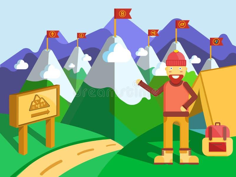 Concept de Cryptocurrencies de voyage de voyage illustration libre de droits