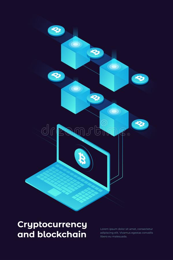 concept de cryptocurrency et de blockchain Ferme pour les bitcoins de extraction illustration libre de droits