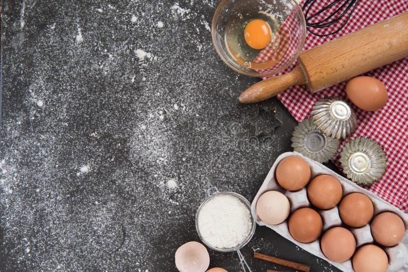 Concept de cuisson, fond de frontière de nourriture image libre de droits