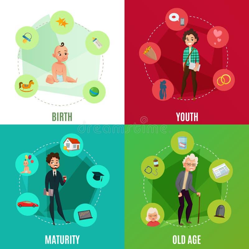 Concept de cycle de vie humaine illustration stock