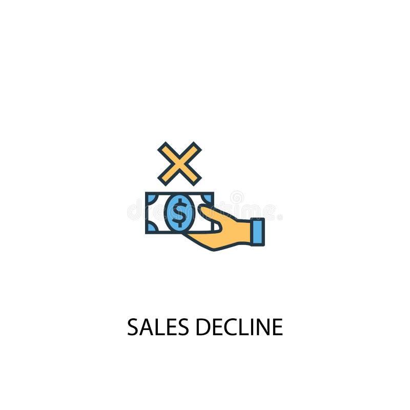 Concept de déclin des ventes 2 lignes colorées illustration libre de droits
