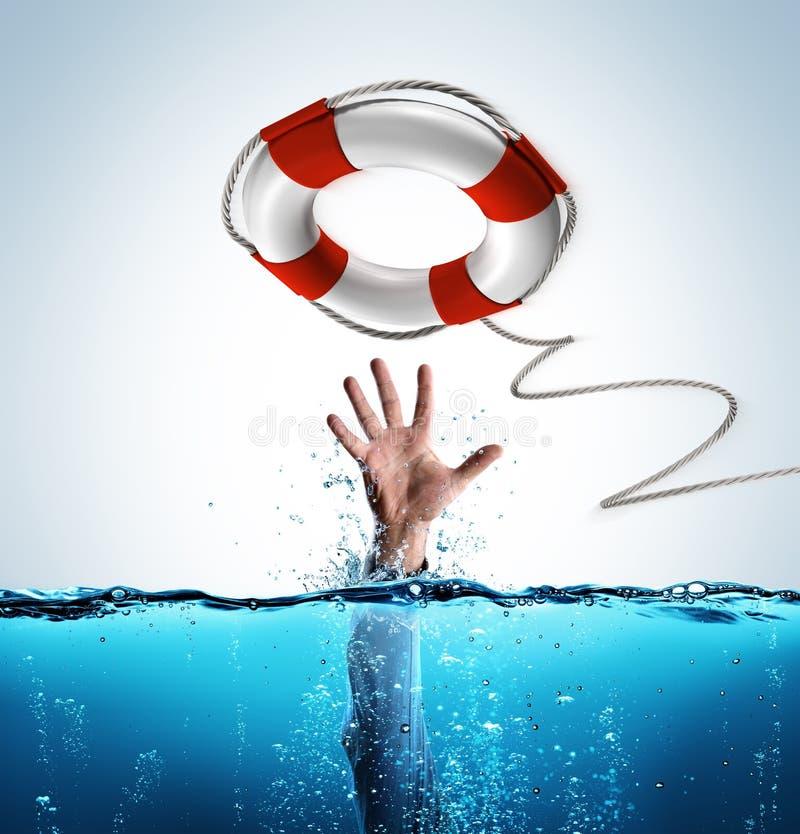 Concept de délivrance - bouée de sauvetage pour aider l'homme d'affaires images stock