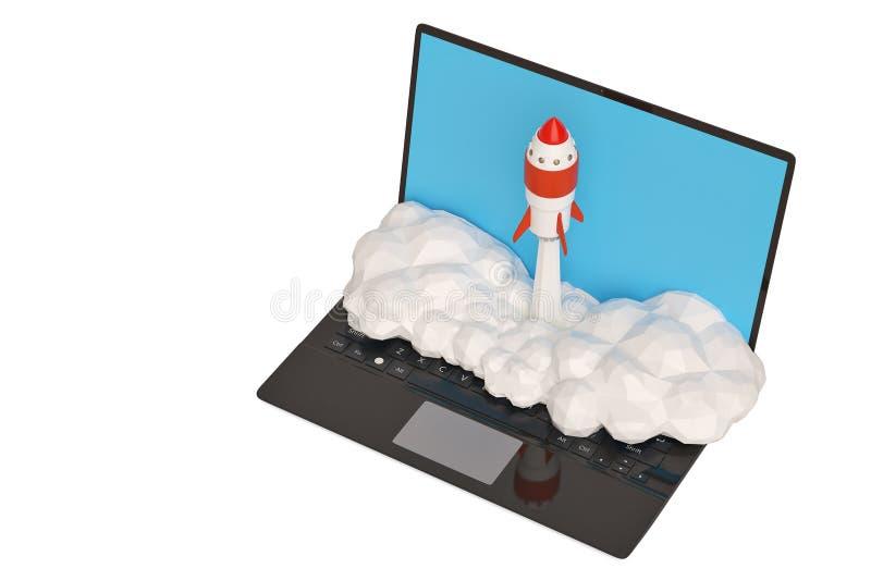 Concept de démarrage avec le vol de fusée hors de l'écran d'ordinateur portable sur le blanc illustration libre de droits