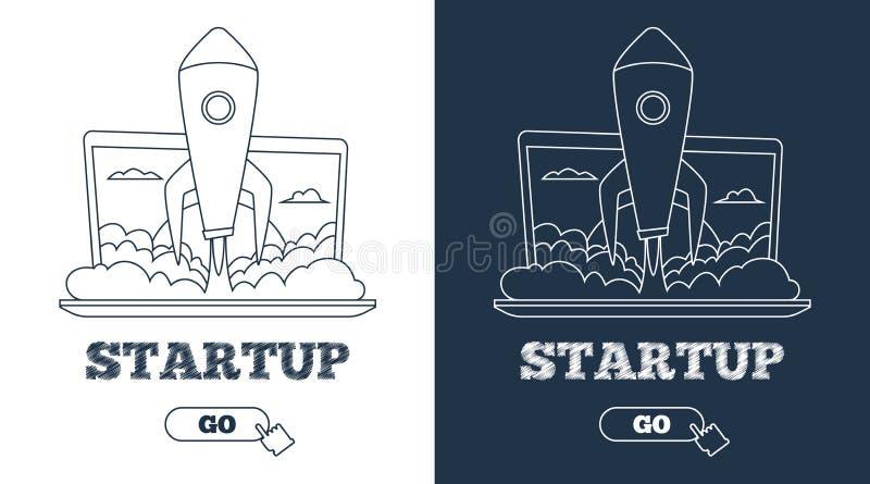 Concept de démarrage d'entreprise Rocket volant de l'ordinateur portable Schéma illustration de vecteur