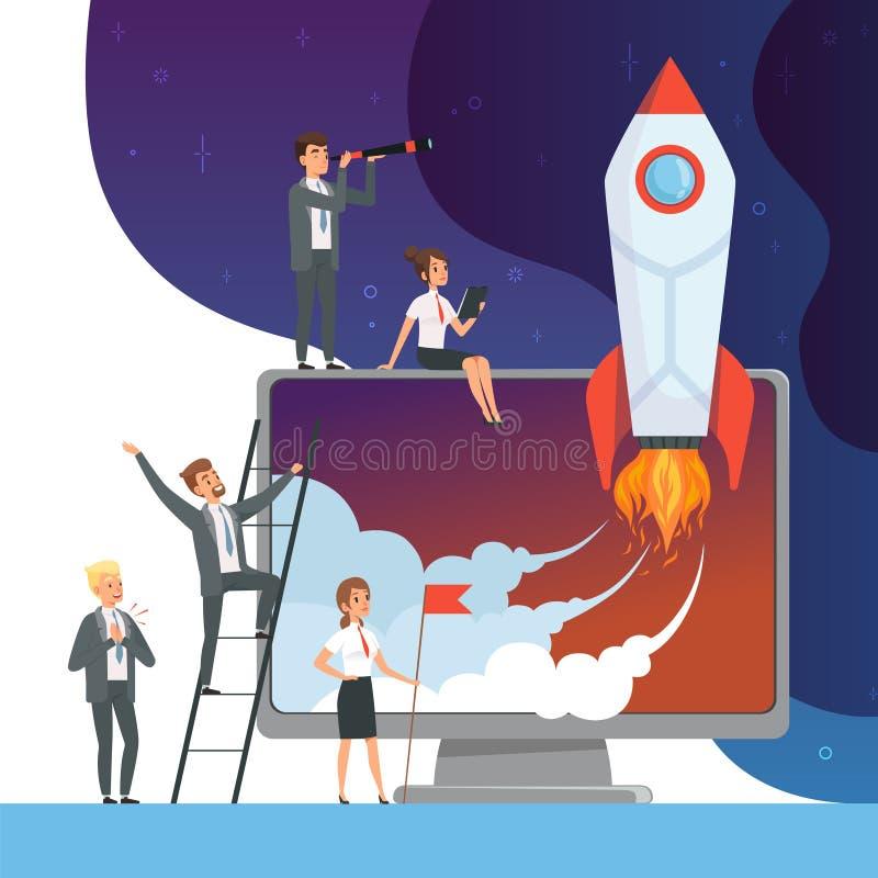 Concept de démarrage de lancement Illustrations d'affaires des directeurs de bureau avec idée de l'espace de fusée la nouvelle du illustration libre de droits