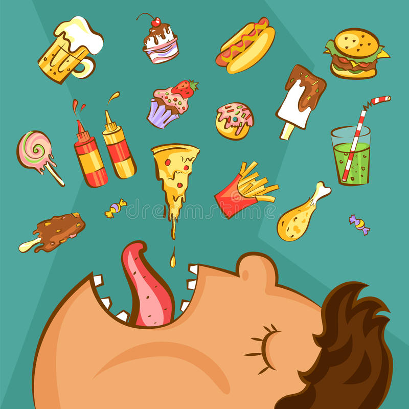 Concept de dépendance d'aliments de préparation rapide Conception malsaine de nutrition Homme obèse et différents plats dans le s illustration stock