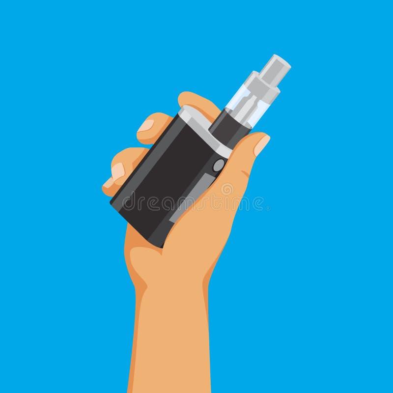 Concept de dépendance de Vape, e-cigarette de participation de main, substance vaping, illustration de vecteur illustration stock