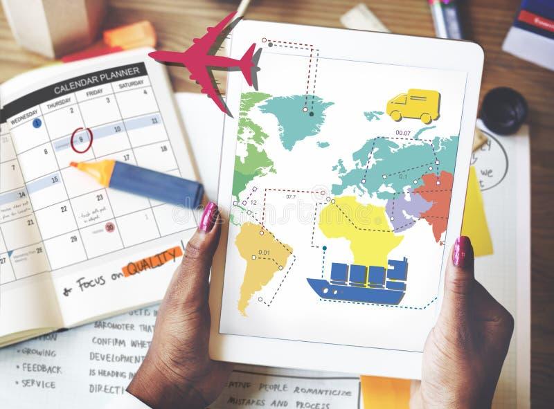 Concept de déplacement de voyage d'itinéraire de carte de voyage photo stock
