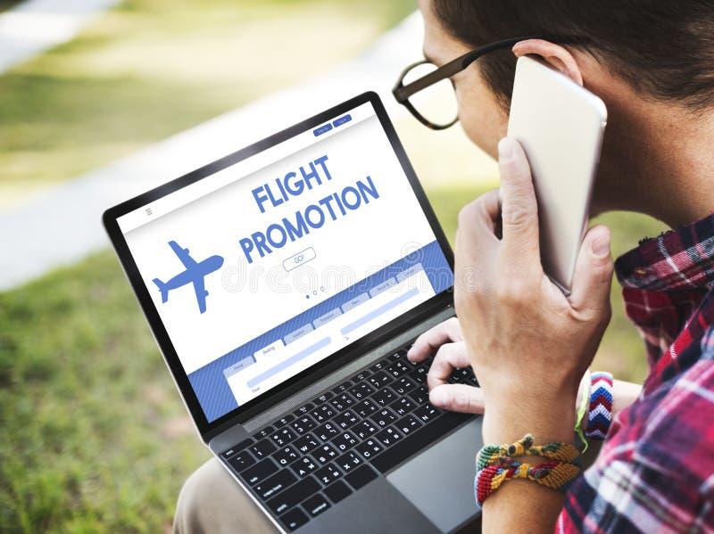 Concept de déplacement plat d'offre de promotion de vol photo libre de droits
