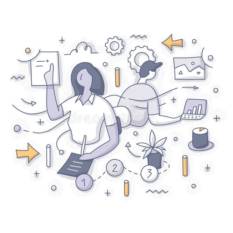 Concept de déroulement des opérations d'affaires illustration de vecteur