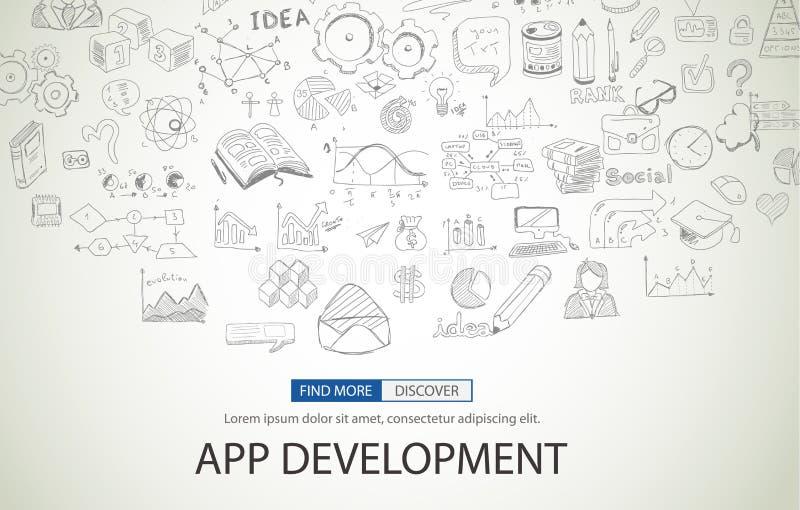 Concept de développement d'APP avec le style de conception de griffonnage illustration stock