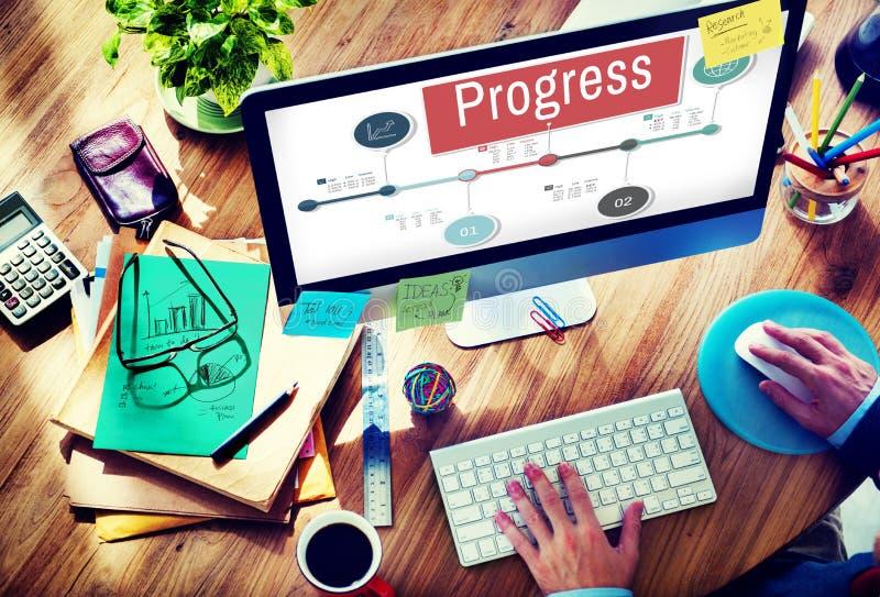 Concept de développement de mission d'investissement d'amélioration de progrès photos libres de droits