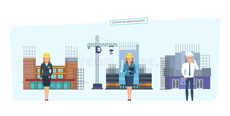 Concept de développement urbain de construction illustration de vecteur