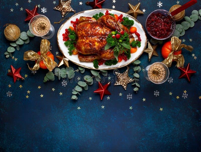 Concept de dîner de Noël ou de nouvelle année Vue supérieure image stock