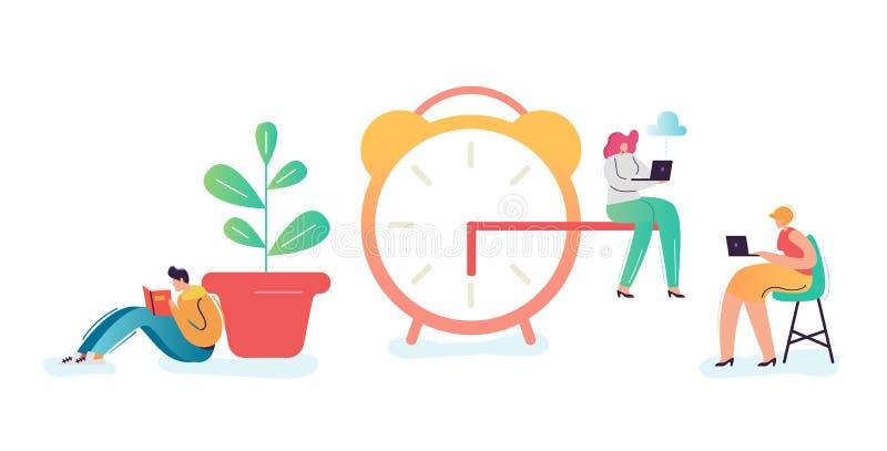 Concept de date-butoir d'affaires Homme d'affaires et femme d'affaires Characters Overtime au travail La gestion du temps, travai illustration libre de droits