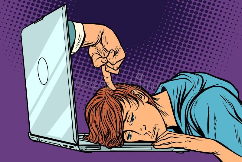 Concept de date-butoir Homme fatigué à l'ordinateur portable illustration libre de droits