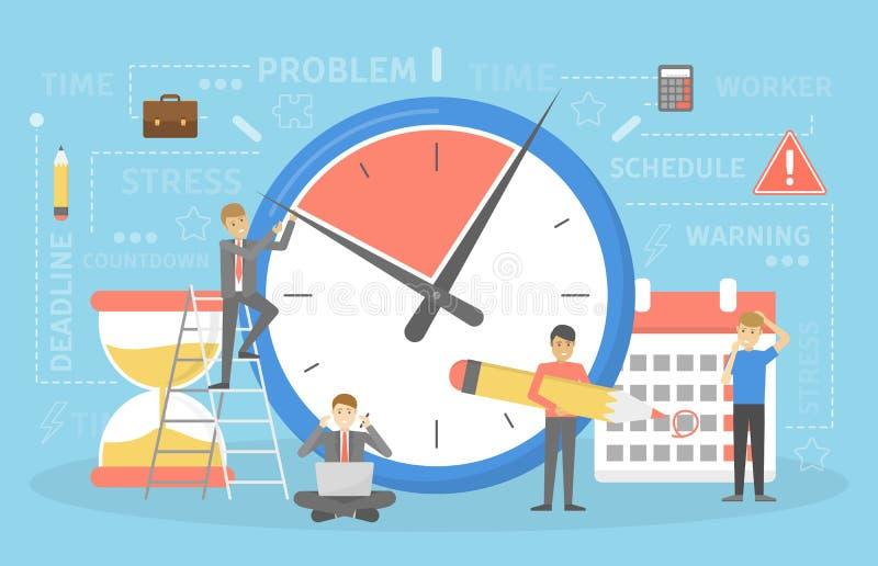 Concept de date-butoir L'idée des beaucoup travail et peu chronomètrent illustration de vecteur