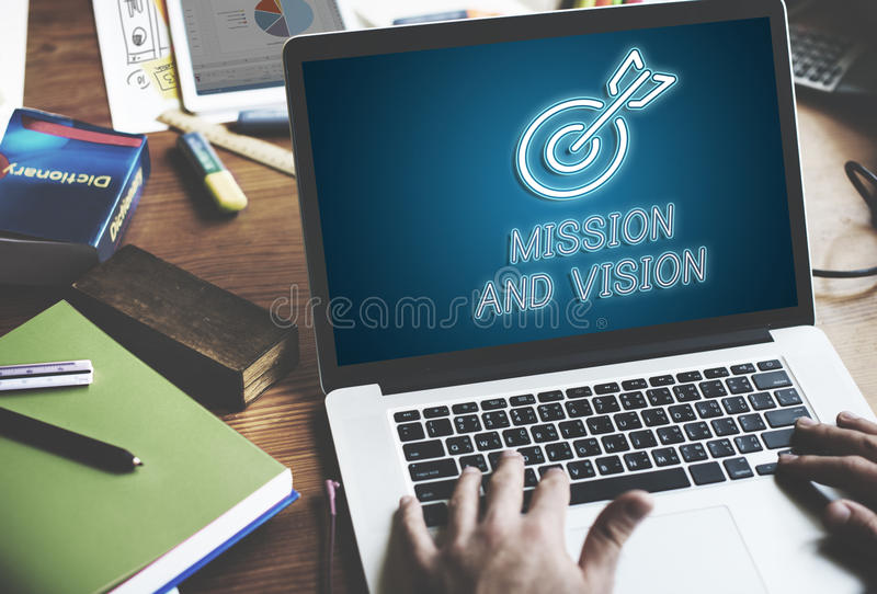 Concept de but de but d'affaires de vision de mission de cible image stock