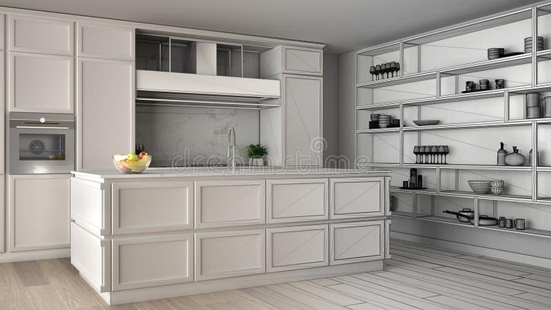 Concept de dessinateur d'intérieurs d'architecte : projet non fini qui devient vraie, classique cuisine en appartement moderne av illustration stock