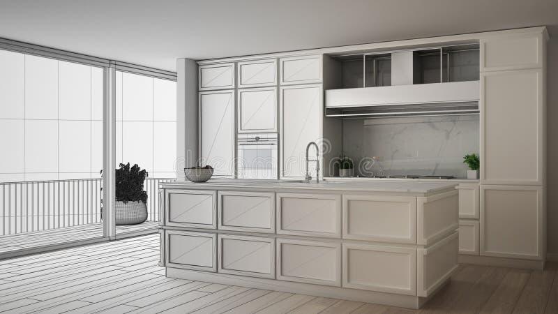 Concept de dessinateur d'intérieurs d'architecte : projet non fini qui devient vraie, classique cuisine en appartement moderne av illustration de vecteur