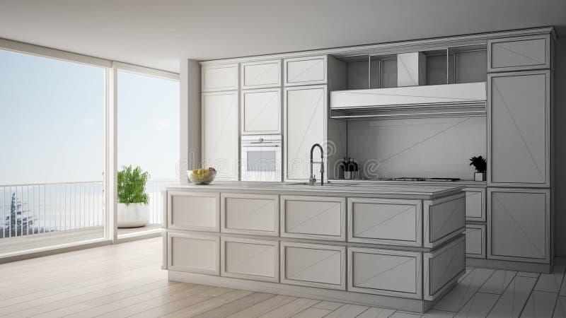 Concept de dessinateur d'intérieurs d'architecte : projet non fini qui devient vraie, classique cuisine en appartement moderne av illustration libre de droits