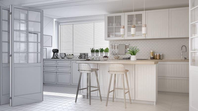 Concept de dessinateur d'intérieurs d'architecte : projet non fini qui devient vraie, moderne cuisine scandinave, armoires, île e illustration libre de droits