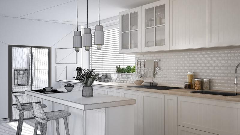 Concept de dessinateur d'intérieurs d'architecte : projet non fini qui devient vraie, moderne cuisine scandinave, armoires, île e illustration stock