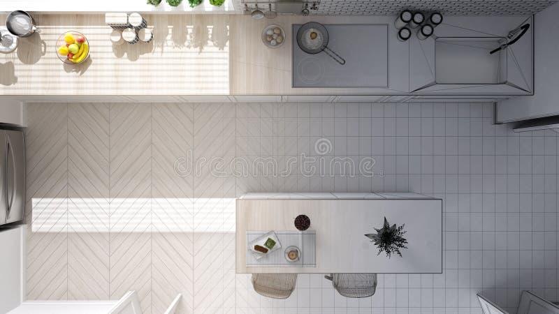 Concept de dessinateur d'intérieurs d'architecte : projet non fini qui devient vraie, moderne cuisine scandinave, armoires, île e illustration de vecteur