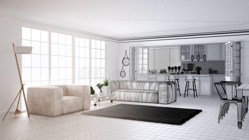 Concept de dessinateur d'intérieurs d'architecte : projet non fini qui devient vrais, minimalistes salon et cuisine blancs, grand illustration libre de droits