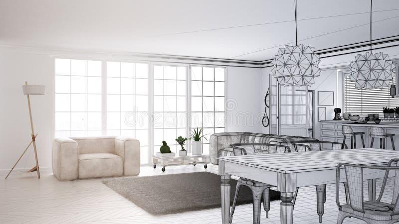 Concept de dessinateur d'intérieurs d'architecte : projet non fini qui devient vrais, minimalistes salon et cuisine blancs, grand illustration de vecteur