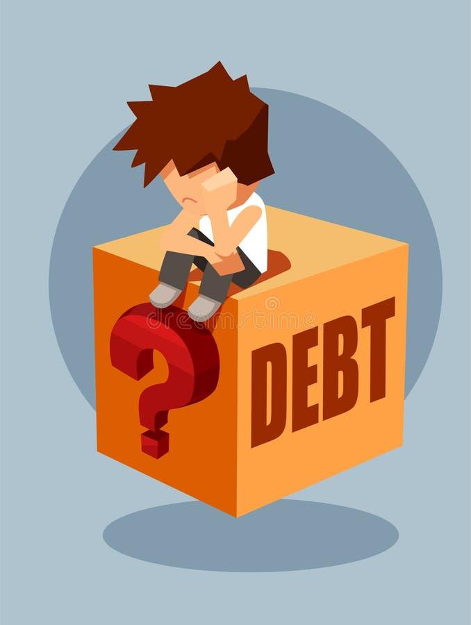 Concept de dette Le vecteur d'un homme triste s'asseyant sur la boîte de question pensant comment payer de retour a emprunté l'ar illustration stock